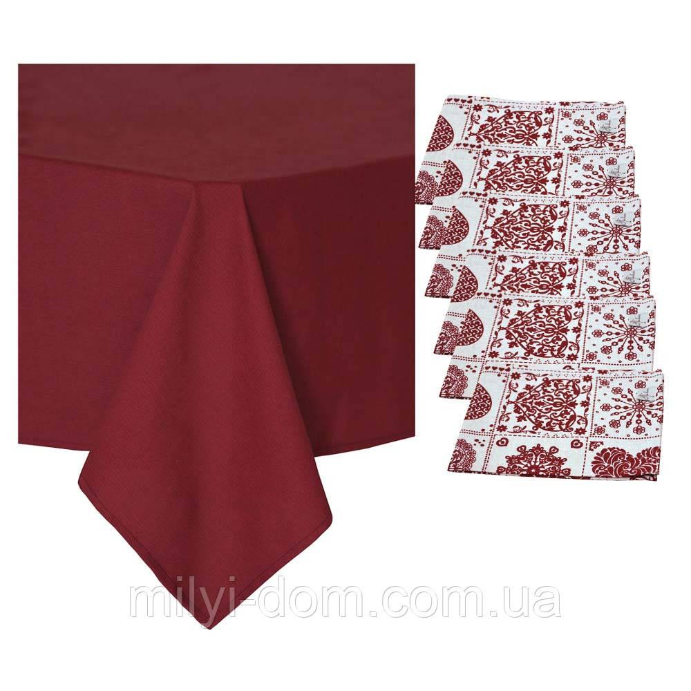 """Набор праздничного текстиля: скатерть """"Бордо"""", 3 размера + 6 салфеток"""