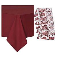 "Набор праздничного текстиля: скатерть ""Бордо"", 3 размера + 6 салфеток, фото 1"