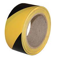 Сигнальный ПВХ-скотч чёрно-жёлтый 33м х 50мм