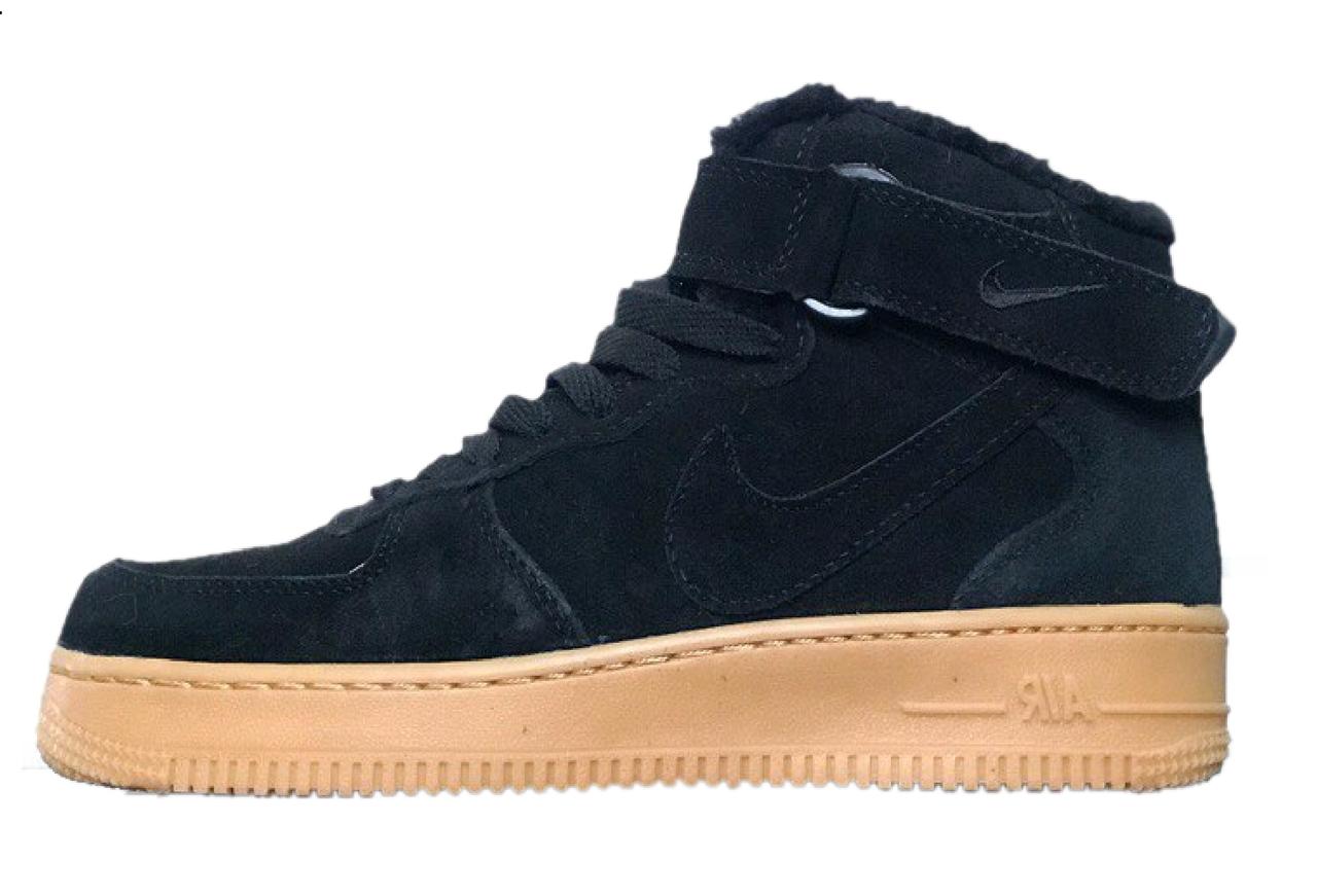Зимние кроссовки Nike Air Force 1 Black (Найк Аир Форс 1 высокие, черные) 3d798a65352