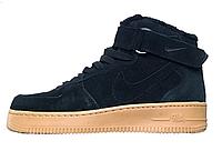 Зимние кроссовки Nike Air Force 1 Black, на меху