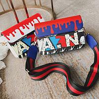 Стильный клатч Art с ярким принтом и поясом, цвета в наличии