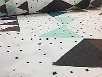 """Фланель """"триугольники большые разноцветные на белом"""""""