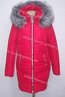 Очень теплая зимняя куртка на синтепоне с мехом красная