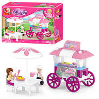Конструктор детский SLUBAN кафе на колесах, столик, фигурки 2шт,78 деталей в коробке