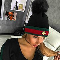 Женская шапка с ЭКО помпоном песца