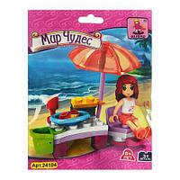 Конструктор детский AUSINI столик, шезлонг, зонтик, фигурка, 31дет, в кульке