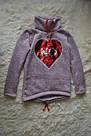 Детская теплая туника на байке с голлограмой-сердечком (бежевая)