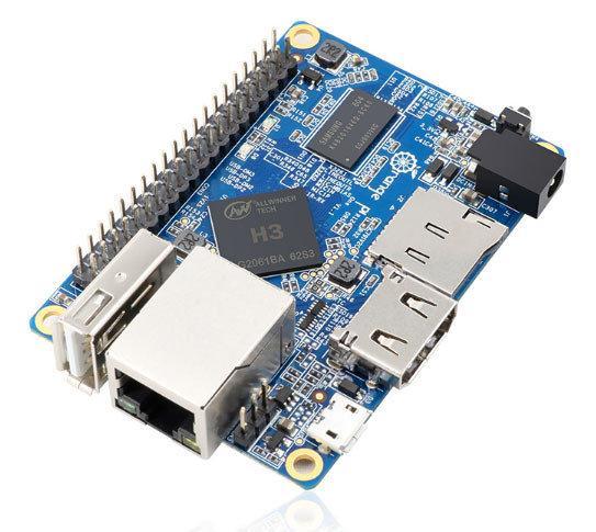 Orange Pi One, Allwinner H3, 4 ядра Cortex-А7 (1,2 ГГц), графика - Mali-400MP2