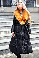 """Женское зимнее длинное пальто на силиконе 9009 """"Углы Воротник Натуральный Мех Лиса"""""""