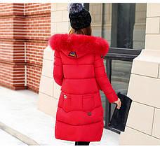Зимняя куртка с капюшоном. Красная. Цветные заклепки- 208-022, фото 2