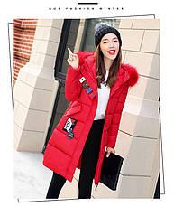 Зимняя куртка с капюшоном. Красная. Цветные заклепки- 208-022, фото 3