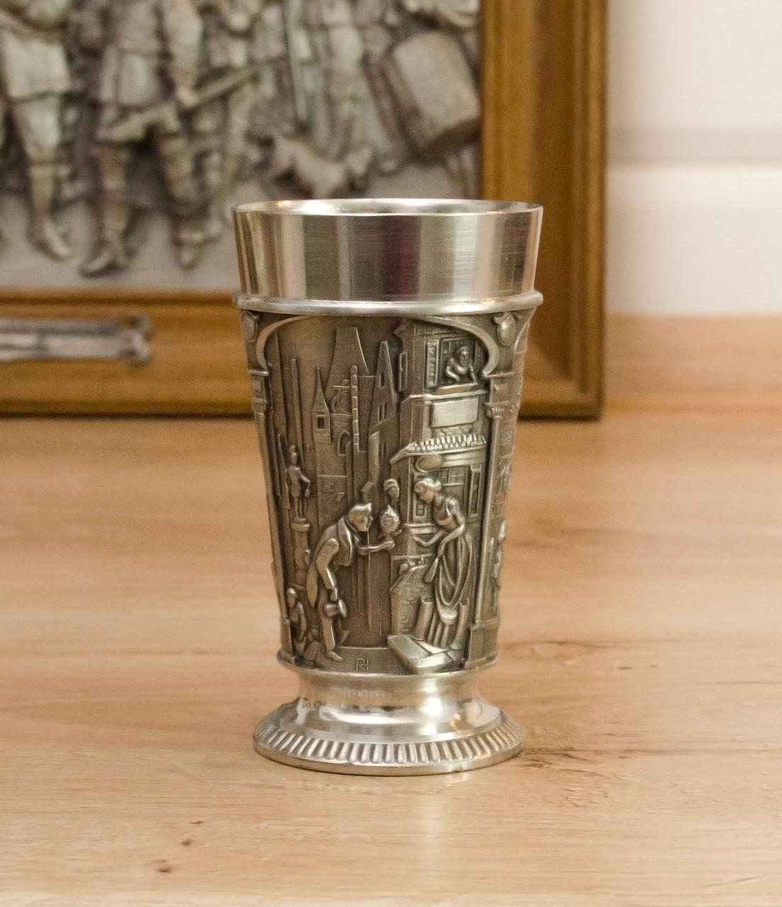 Коллекционный оловянный бокал, пищевое олово, Германия