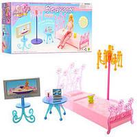 Мебель для кукол спальня, кровать, телевизор, торшер, столик, в кор-ке