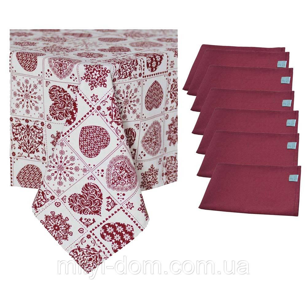 """Набор праздничного текстиля: скатерть """"Бордо пэчворк"""", 3 размера + 6 салфеток"""