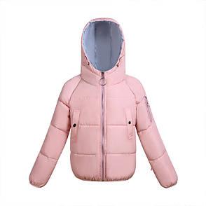 Куртка двусторонняя розово - голубая с капюшоном- 208-011, фото 2