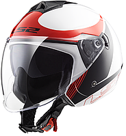 Шлем LS2 OF573 TWISTER PLANE, WHITE BLACK RED, S