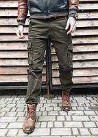 """№-4 Iteno хаки (29-38, 6 ед.) """"классика"""" мужские брюки с накладными карманами в коттоне"""
