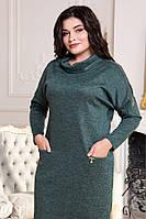 Платье ангоровое зеленое длинный рукав 48+, фото 1