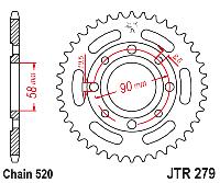 Звезда задняя JT JTR279.42