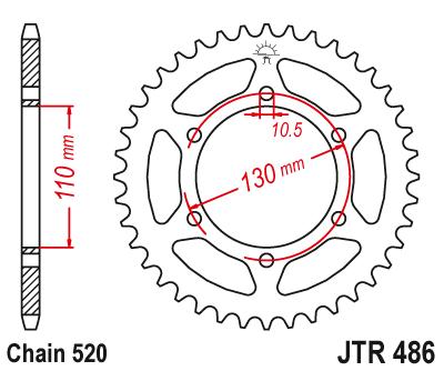 Звезда задняя JT JTR486.42