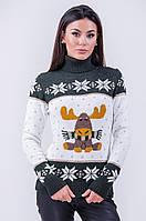 Очень красивый и теплый свитер с оленем