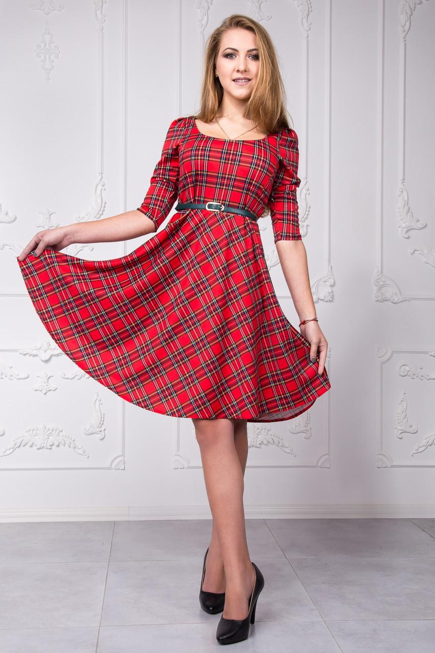 d9f7b74600b Красивое женское платье в красную клетку с поясом размер 50 - Интернет- магазин стильной