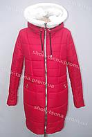 Женское зимнее пальто парка на овчине  красное в Хмельницком оптом и розница