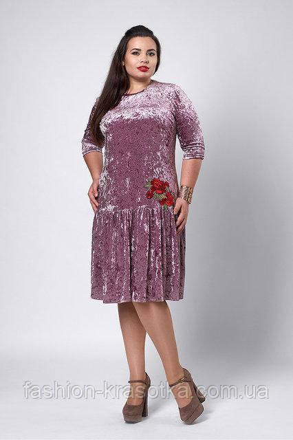 Оригинальное бархатное платье свободного  кроя  с вышитой розой тёмно-розового  цвета   52-56