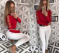Женская стильная кофта со шнуровкой на руках цвет: красный, черный,меланж,нежно-розовый,белый