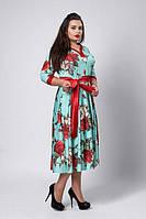Нарядное женское платье из принтованого микро дайвинга бирюзового цвета   50-54