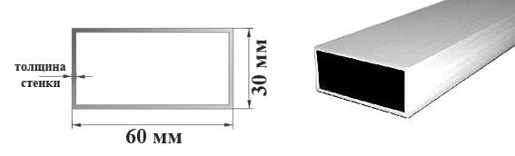 Алюминиевые трубы профильные прямоугольные 60х30