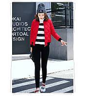 Куртка женская короткая стеганная. Бомбер Красная-208-031