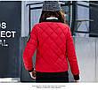 Куртка женская короткая стеганная. Бомбер Красная-M-208-031, фото 5