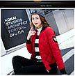 Куртка женская короткая стеганная. Бомбер Красная-M-208-031, фото 6