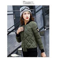 Куртка женская короткая стеганная. Бомбер. Хаки-208-033