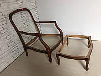 Итальянское кресло с пуфом в стиле рококо. Кресло дюшес бризё. Новое.