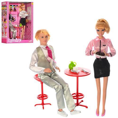 Куклы Семья 29 см и 30 см, столик, посуда, 2 цвета, в коробке