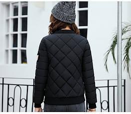 Куртка женская короткая стеганная. Бомбер. Черная-208-032, фото 2