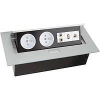 Поворотный блок на 2 розетки+USB+Internet+аудио