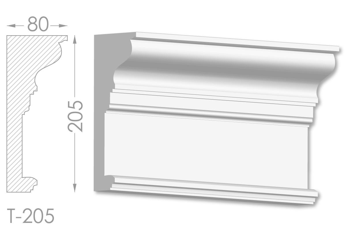Карниз с гладким профилем, молдинг потолочный из гипса т-205