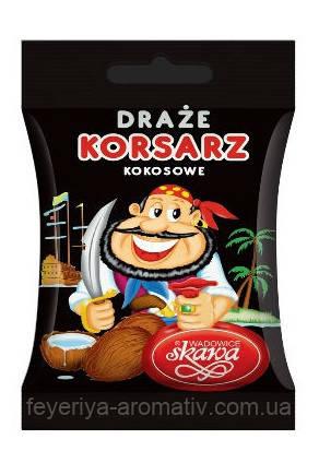 Драже кокосовое в шоколадной глазури Korsars 60g (Польша)