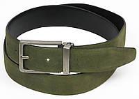 Классический кожаный ремень, Vanzetti, Германия, 100112 зеленый, 3х117 см