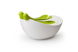 Салатница Qualy Sparrow Salad Bowl with Servers, фото 2