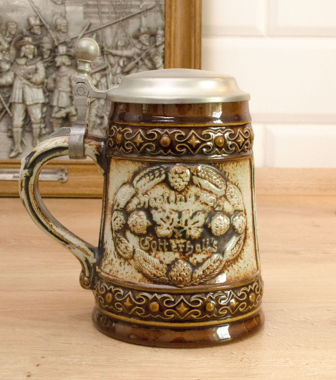 Коллекционный пивной бокал, керамика, олово, Германия, реставрация