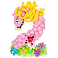 Цифра из воздушных шаров в виде лошадки, тигра, жирафа ... , фото 1
