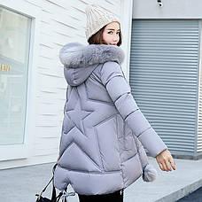 Куртка женская с капюшоном и помпонами звезда на спине, серая-208-071, фото 2