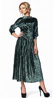 Женский костюм из бархата с юбкой плиссе