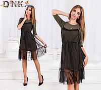 Комплект из двух платьев - хаки и легкое сеточка