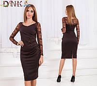 Платье средней длины с гипюром (коричневое, красное)